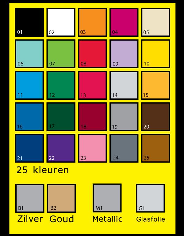 kleurenkaart vinyl sticker, plakfolie, plakletters, kleuren
