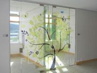 transparante raamfolie, boom, kantoor, glazenwand