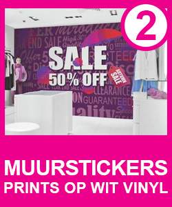 muurstickers, prints op wit vinyl