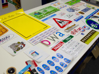 stickers, diverse, groot, klein