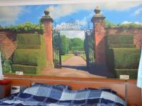 Muursticker (A), plaktextiel, slaapkamer, tuin, poort, hek, groot