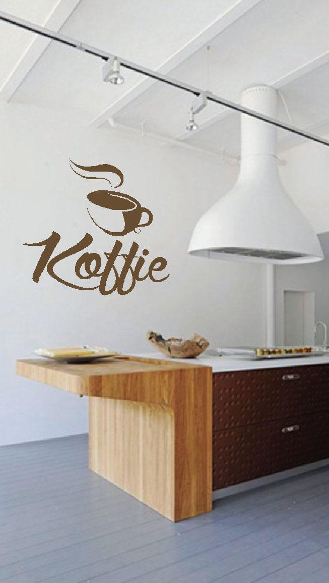 Muurstickers gesneden (C) muurteksten, keuken, koffie, coffee, goud