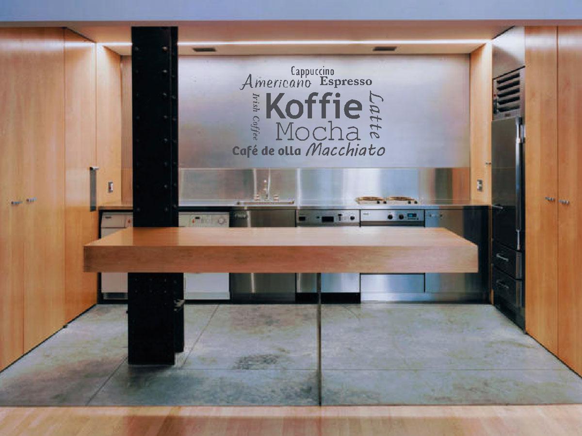 Muurstickers gesneden (C) muurteksten, keuken, koffie, grijs, coffee, espresso