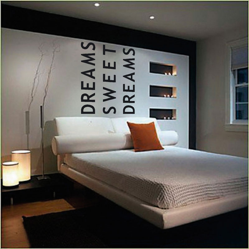 Muurstickers gesneden (C) muurteksten, slaapkamer, zwart, sweet dreams