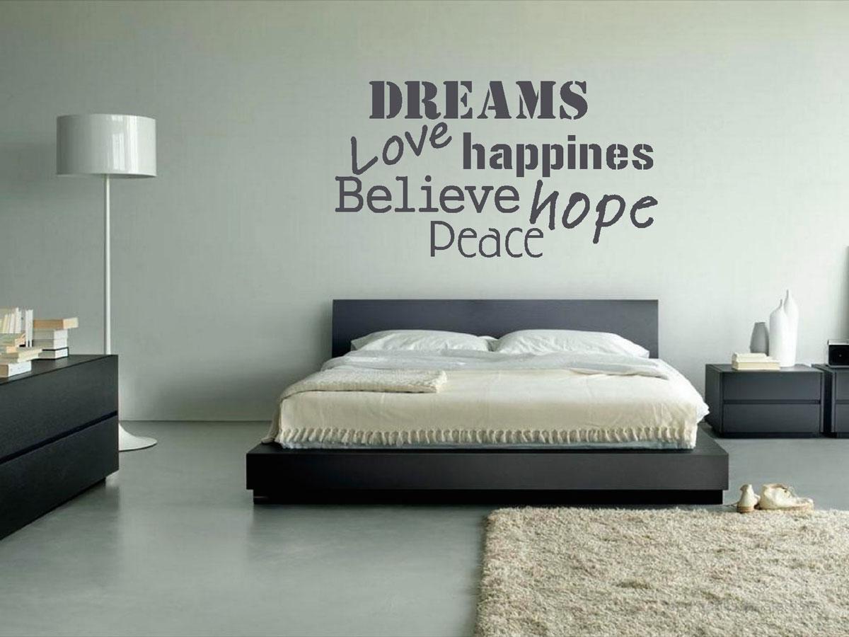 Muurteksten gesneden (C), slaapkamer, groot, tekst, grijs