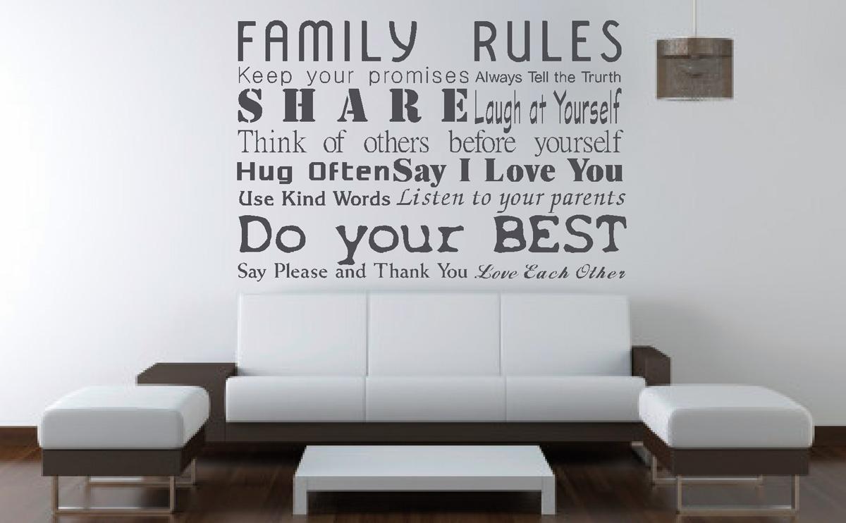 Muurstickers gesneden (C) muurteksten, woonkamer, family rules, grijs