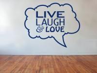 Muurteksten (C), live laugh love, blauw, gesneden vinyl