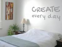 Muurteksten (C), create every day, grijs, gesneden vinyl