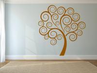 Muursticker gesneden (C), boom, muur, groot, slaapkamer, goud, muursticker