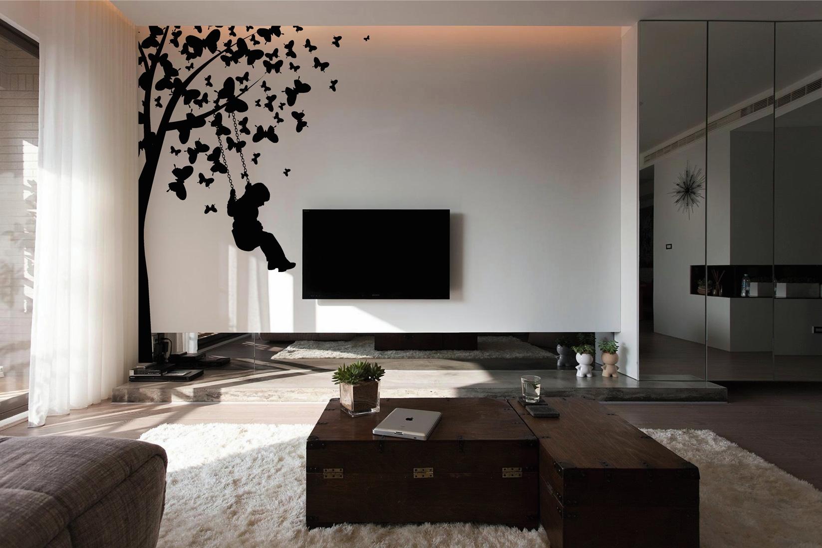 Muursticker (C), boom, schommel, vlinders, muur, groot, huiskamer, muursticker, zwart