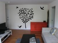 Muurstickers (C), boom, vogels, woonkamer, groot, muursticker, zwart
