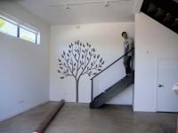 Muursticker (C), boom, muur, groot, grijs, kelder, gesneden vinyl, muursticker