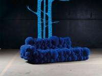 Muursticker (C), boom, muur, groot, vogels, blauw, muursticker