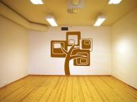 Muurstickers (C), boom, muur, groot, goud, gesneden vinyl, muursticker