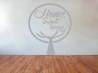 Muurstickers (C), boom, muur, groot, grijs, home sweet home, gesneden vinyl, muursticker