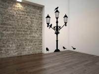 Muurstickers (C), lantaren, lantarenpaal, vogels, groot, muursticker, zwart
