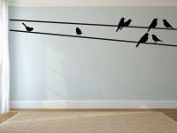 Muurstickers (C), vogels, groot, muursticker, zwart