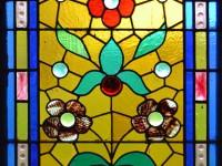 glas-in-lood, raamfolie, voorbeeld, rozen, bloemen