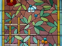 glas-in-lood, raamfolie, voorbeeld, bloemen, bruin