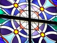 glas-in-lood, raamfolie, voorbeeld, modern, rond, kruis