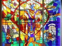 glas-in-lood, raamfolie, voorbeeld, kerk, voorzetraam, jezus