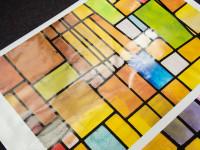 Transparante raamfolie (3), kunst, kinderkamer, geel