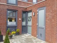 Gesneden glasfolie (1), voordeur, keuken, raamfolie, huisnummer