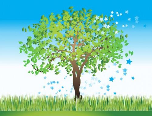 Muursticker, groene boom, blauwe lucht, gras