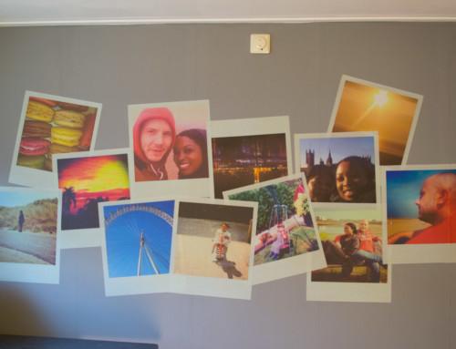 Polaroid foto's, plaktextiel, muursticker