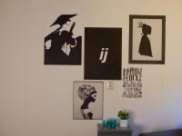 Plaktextiel (A), klein, zwart, muursticker, eigen ontwerp, custom design