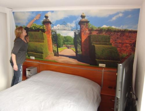 Muursticker, op maat, plaktextiel, slaapkamer, poort, muur, tuin