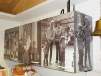 Muursticker (B), keukenkastjes, keukenkast, oude foto's, glans laminaat, meubelsticker