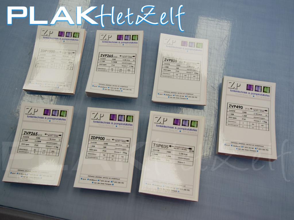 sticker, informatie, specificaties product, gebruiksaanwijzing, glans, gelamineerd, S11G